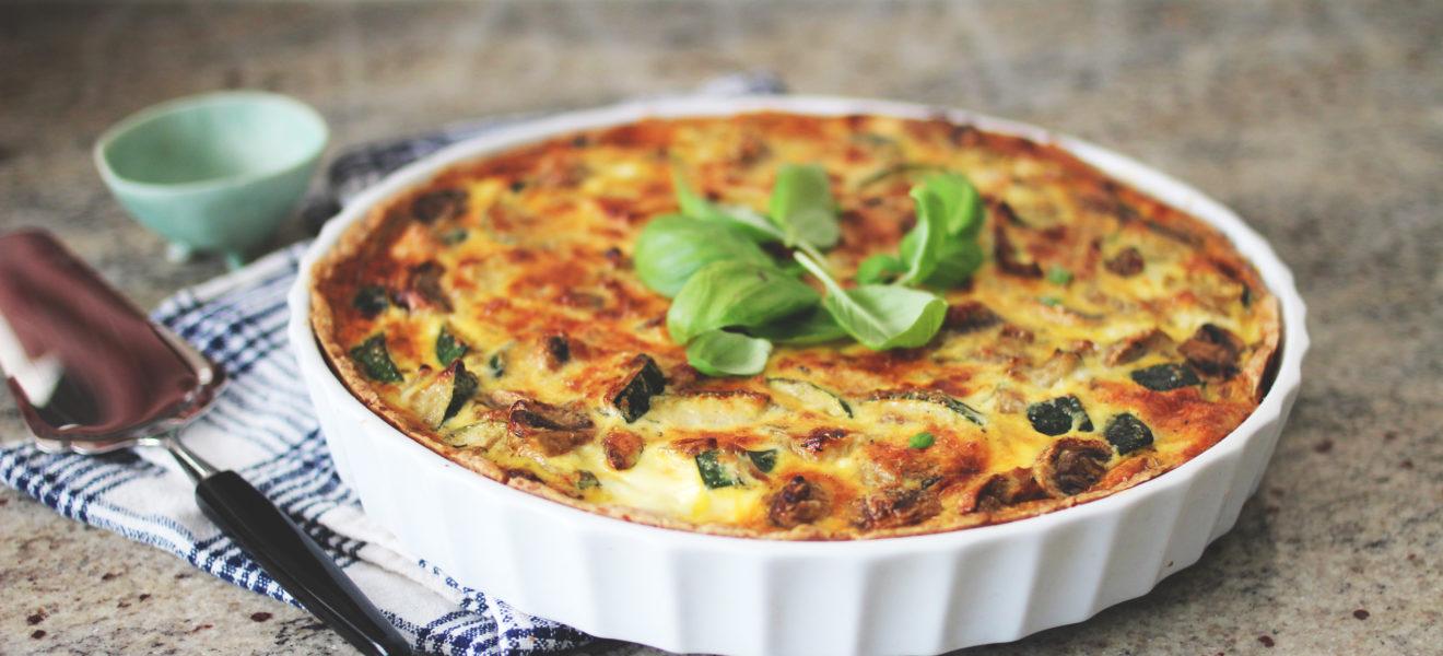 Pai med mascarpone og grønnsaker