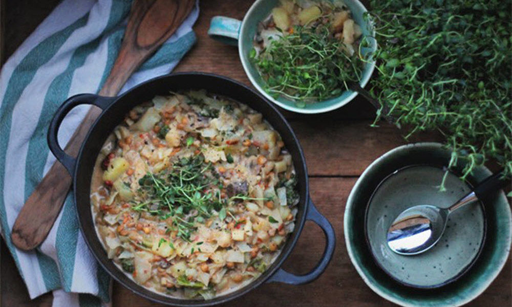 Gryterett med sopp, kål & rotgrønnsaker