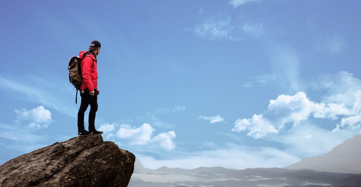 Person på fjelltopp. Diabetes type 1.