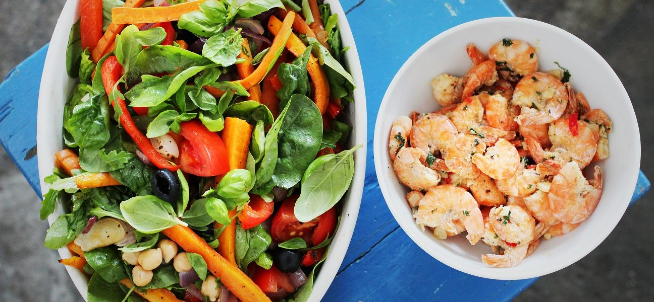 Sommersalat & scampi