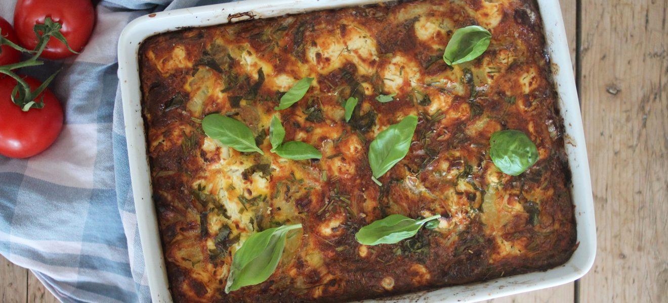 Ovnsbakt omelettform med grønnsaker