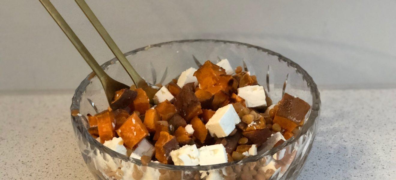 Gresskarsalat med linser og fetaost