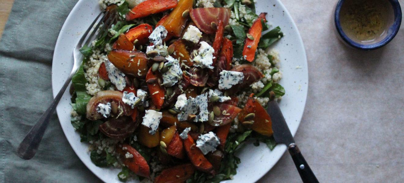 Beter og quinoasalat med blåmuggost