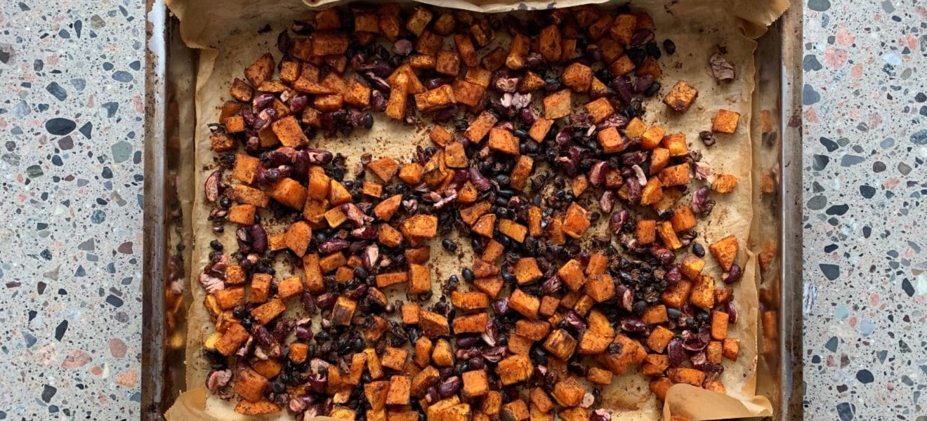 Tacofyll: Ovnsbakte bønner og søtpotet