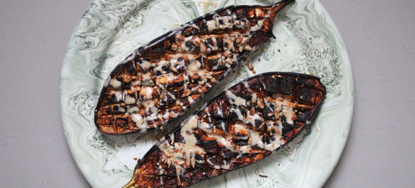 Ovnsbakt aubergine med sesam-marinade