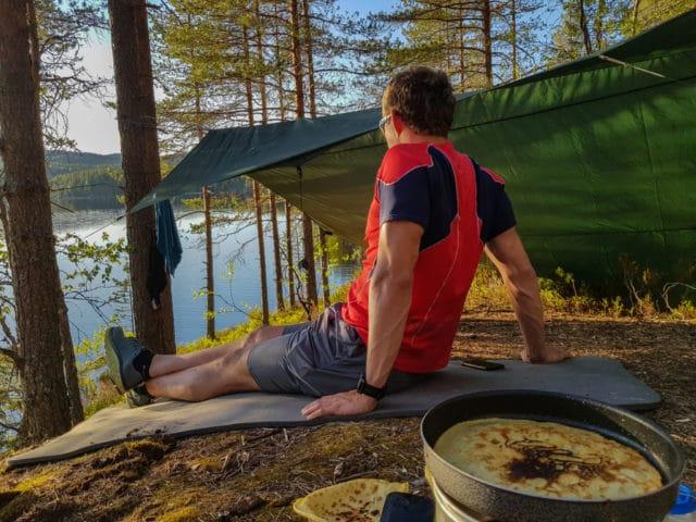 gode tips til teltturen, Jørgen på telttur i Nordmarka