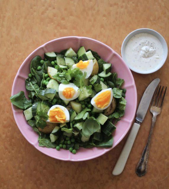 Kald potetsalat med erter